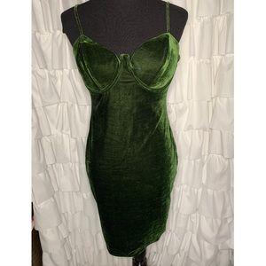 Charlotte Russe Green Velvet Bustier Bodycon Dress